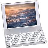 Bluetooth Keyboard Case For 2017 New iPad 9.7 inch , Durwyn® LED 7 Colors Backlit Wireless Bluetooth Keyboard , Back Hard Folio Case Cover , Ultra Slim ,Aluminium Alloy And Auto Sleep / Wake ( Silver )
