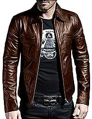 laverapelle 1510200Hombre Real de piel de cordero Napa con una chaqueta de cuero