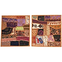 "Indian Handmade Cushion Cover Pillowcases Patchwork Embroidered Bed, Sofa Throw Decor 16""x16"" (Brown)"