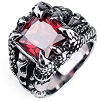 Stainless Steel Ring Decorated With Black Crystal for Men (Size9)