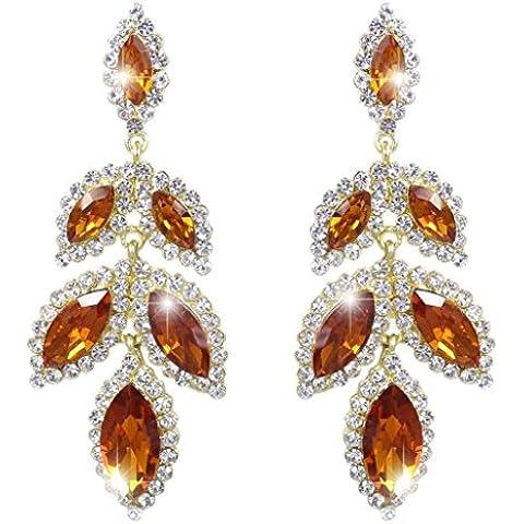 EVER FAITH® Gold-Tone del petalo del fiore Tear Drop ciondola gli orecchini Topaz di colore cristallo austriaco - Petalo Ciondola