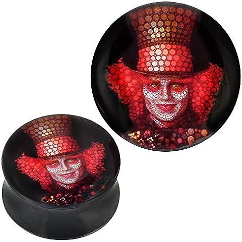 Plug in acrilico mosaico Clown con cappello rosso nero Piercing orecchini