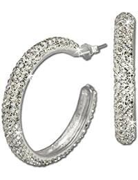 SilberDream glamour boucles d'oreilles créoles simples en or blanc et cristal swarovski elements boucles d'oreilles en argent sterling 925 gSO212W