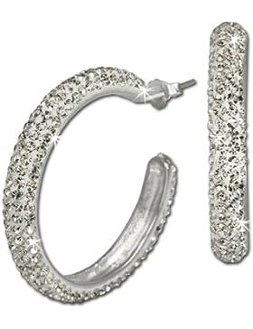 SilberDream Glitzer Creole Glamour weiß Swarovski Elements 925 Sterling Silber Ohrringe GSO212W