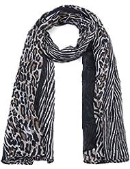 Écharpe longue motif Animalier - Noir