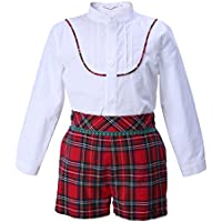 608375f6d Lajinirr Boys Clothing Sets Children Clothing Outfit White Shirt + Plaid Shorts  Suits