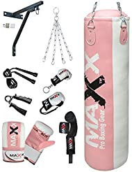 Maxx Pink punchbag set 12pcs set or with Bracket or Hook FREE CHAIN sizes 5ft , 4ft and 3ft
