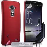 Yousave Accessories Coque LG G Flex D955 Etui Rouge Dur Hybride Housse Avec Mini Stylet Et Chargeur De Voiture