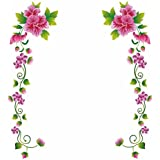 Decal Design Wall Stickers Pink Flower Vines Vinyl Home Decoration
