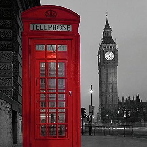 Finer Shop Cabina de Teléfono Roja Big Ben en Londres Cortina de Ducha Impermeable de Baño Baño Cortina Cortina Cuarto de Baño con 12 Ganchos 180 * 180cm