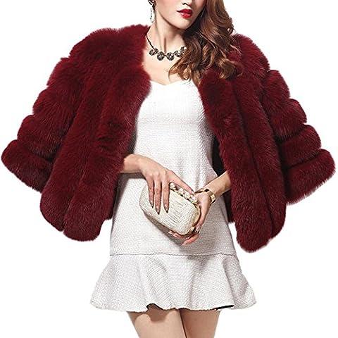 LaoZan Mujeres Chaqueta Abrigo de Piel Artificial Corto Elegante encantador y Cálido para Invierno - Vino Rojo - Large