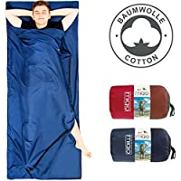MIQIO® 2in1 Baumwoll Hüttenschlafsack mit durchgängigem Reißverschluss (Koppelbar): Leichter Komfort Reiseschlafsack und XL Reisedecke in Einem - Sommer Schlafsack Innenschlafsack Inlett Inlay