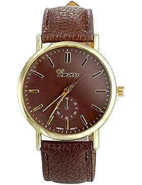 JSDDE Uhren,Elegant Genf Unisex-Lederband-Analog-Quarz-Armbanduhr Vogue Kunstleder Band Analog Qaurzuhr,Kaffee