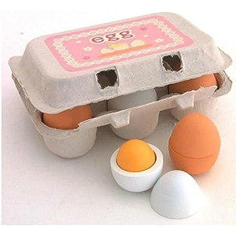 6 huevos juegos de madera en cartón Juegos de imaginación Pre escolar-educativo del juguete de cocina de juguete de Alimentos