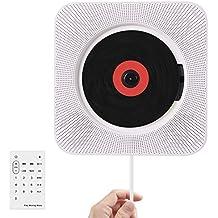 Wrcibo Reproductor de CD, Montaje en pared Audio CD Player para el hogar con control remoto Construido en Altavoces HiFi USB MP3 3.5mm auriculares Jack AUX entrada / salida, Blanco