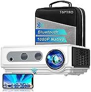 Proyector WiFi Bluetooth Full HD 1080P, TOPTRO 7500 Lúmenes Proyector 1080P Soporta 4K y Función de Zoom, Pant