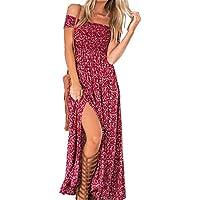 Vestido Largo Mujer Sin Hombros Floral Cintura Alta Sexy Elegante Traje de Fiesta Cóctel Playa