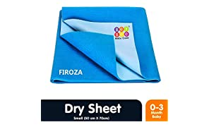 Bey Bee Quick Dry Baby Bed Protector (Firoza, Small, 70cmx50cm)