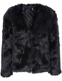 Simplee Apparel Donna Cappotto invernale Elegante Caldo Faux Fur Pelliccia Sintetica Giacca Corta Cappotto Coat