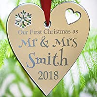 Personalised Christmas Tree Decoration - Xmas Bauble Engraved Gift Bauble - Our First Christmas Mirrored Heart Bauble Ornament
