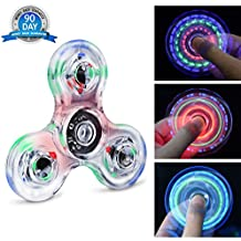 Fidget Hand Spinner Quimat Éclairage LED Jouet de Dextérité 216 Modes d'Éclairage Parfait pour enfants et adultes Aide à lutter contre l'Ennui et le Stress et favorise la Concentration