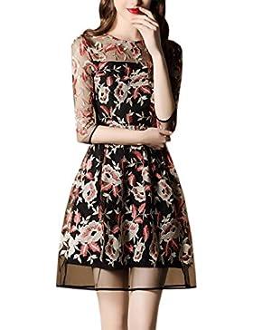 HJMTRY Siete puntos de la manga bordado fino flor del color del vestido de la señora , picture color , l