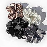 Artful, Hair scrunchy, satin Silk hair scrunchies, multicolour (Black, white, golden and silver)
