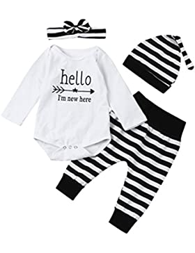 Lylita 4pcs Bambino neonato ragazza Romper Top + Pantaloni + cappello + Fascia Abiti set