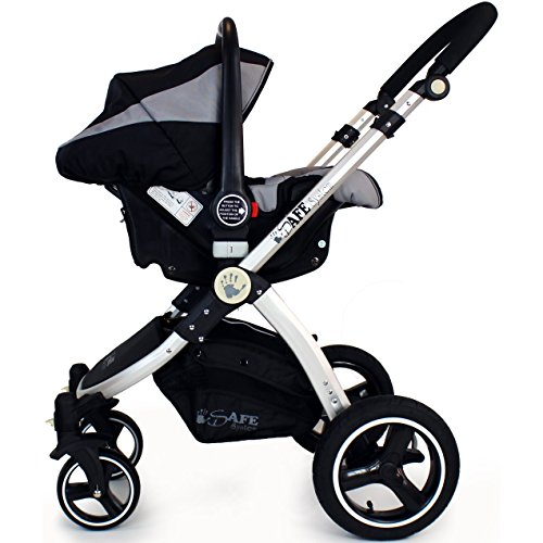 i-Safe System – Black Grey Travel System Pram & Luxury Stroller 3 in 1 Complete With Footmuff, Head support, Carseat Footmuff, All the Raincovers iSafe