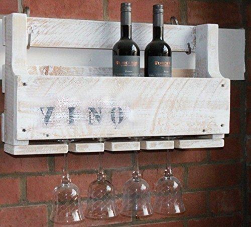 dekorie67 Holz Weinregal mit Gläserhalter fertig montiert Vintage Shabby weiß