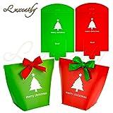 Luxcathy 12 Counts 2 Patterns 4 'Altezza Ragazza Regalo con sacchetti avvolti con nastri per piccoli regali, biscotti, caramelle, cioccolatini (rosso + verde)