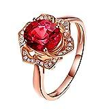 BIGBOBA 1 Stück Charm Flower Rose Gold Ring Romantische Rote Kristall Ring Freundin Lieblings Urlaub Geschenk Elegante Dame Schmuck Ring Einstellbar