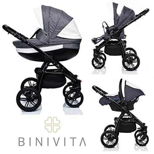 Binivita® Isabel Black Collection Kinderwagen Kombikinderwagen Kombi 3 in 1 + Babyschale + Buggy-Kinderbuggy-Sportwagen + Babywagen 14-Teile Set inkl. Kinderwagentasche - Grey-Isabel-Black