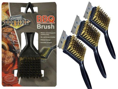 Confezione di 3 spazzole per la pulizia della griglia del barbecue, in filo di acciaio, con raschietto