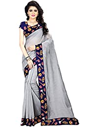 Areum Women's Chanderi Cotton Silver Plain Saree With Printed Border