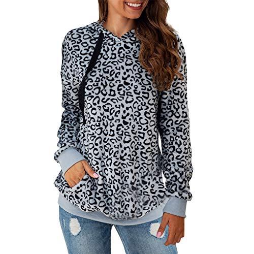 Junjje Mode Frauen Casual T-Shirt Blumen Printed Leopard Langarm Pullover Hoodie Sweatshirt Tops Khaki, Grau, Kaffee