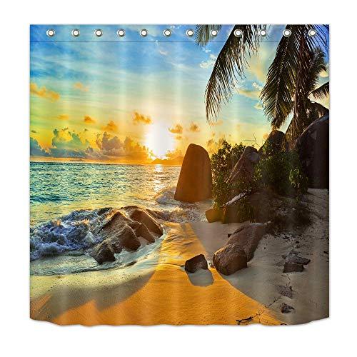 LB Meer,Felsen,Strand,Palmen,Sonne_Polyester Stoff Duschvorhang mit Haken Badzubehör Dekoration,180 x 180 cm