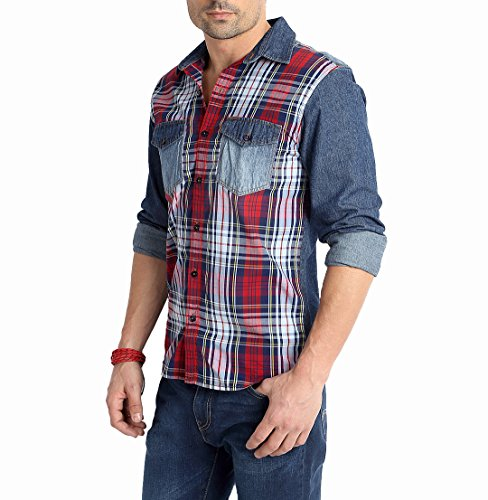 Rodid Men's Checkered Casual Denim Multicolor Shirt (B-RD13A0BC-S)