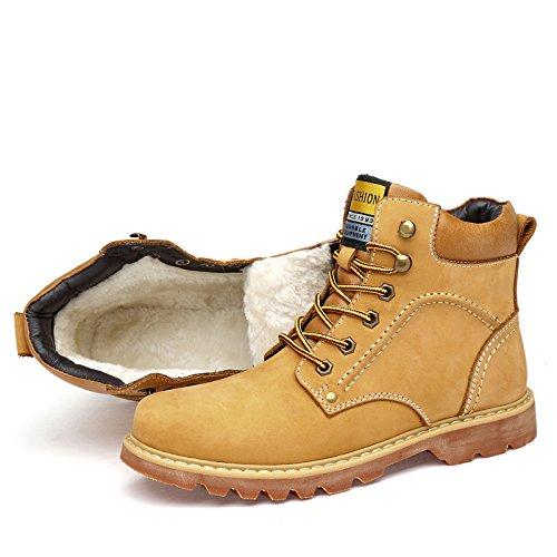 QXH Schuh-Shop Qxw Runden Kopf mit Flachem Boden Armband Farbe Leder Martin Herren Stiefel, Gelb Verdicken, 48