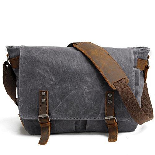 SWYIVY Messenger Satchel Tasche für Männer und Frauen, Vintage Canvas Real Crazy-Pferd Leder 15-Zoll-Laptop-Aktentasche für den täglichen Gebrauch 35 cm (L) x 27 cm (H) x 11 cm (W) (Grau) (Nylon Messenger Prada)