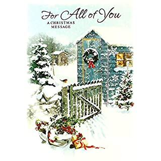 All Of You Christmas Card - Traditional Blue Shed, Gate & Basket 7.5