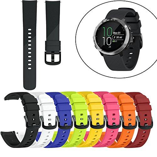 Altsommer Multi Farben Uhrenarmband für Garmin Forerunner 645 S,Silikon Armband mit Schwarze Stahlschnalle Sportarmband, Ersatz Armbanduhr Ersatzarmband für Damen Herren (Weiß)