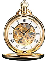 KS KSP008 - Reloj de Bolsillo Unisex Mecánico de Cuerda Manual, Caja Dorada