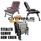 Cyprinustm Stealth Rip Stop Camouflage Camouflage inclinable Chaise de Bras de la pêche à la Carpe