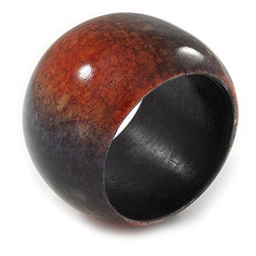 Avalaya Holz-Armreif, breit, schwarz/rot, Marmoreffekt -17cm L/Medium