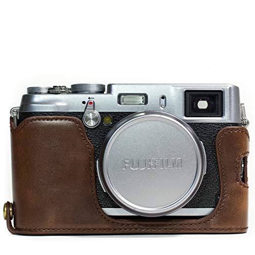 MegaGear Halteschnur MG1100Ever Ready Leder Kamera Hälfte Fall und Gurt mit Akku Zugriff für Fujifilm X100S-Dunkelbraun (Kamera-akkus Fall)