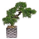 Kunstpflanze Bonsai Zeder grün, im Keramiktopf silber, ca. 36 cm
