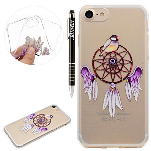 Custodia iPhone 7, iPhone 7 Cover Silicone, SainCat Custodia in Morbida TPU Protettiva Cover per iPhone 7,Creative Design Transparent Silicone Case Ultra Slim Sottile Morbida Transparent TPU Gel Cover campane viola