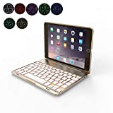OBOR Aluminiumlegierung iPad Mini Keyboard Case - 7 Farben Hintergrundbeleuchtung Flip Wireless Bluetooth Tastatur Schutzhülle für iPad Mini 2/3 (Golden)