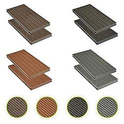 HORI® WPC-Terrassendielen massiv braun I Komplett-Set inkl. 40x60 mm Unterkonstruktion & Clips I Dielenlänge 2,90 m I Fläche 5 m²